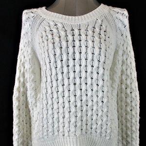 MONA B womens Medium CROCHET KNIT sweater (A8)E2